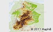 Physical Panoramic Map of CAR, lighten