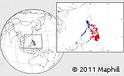 Flag Location Map of Philippines, blank outside
