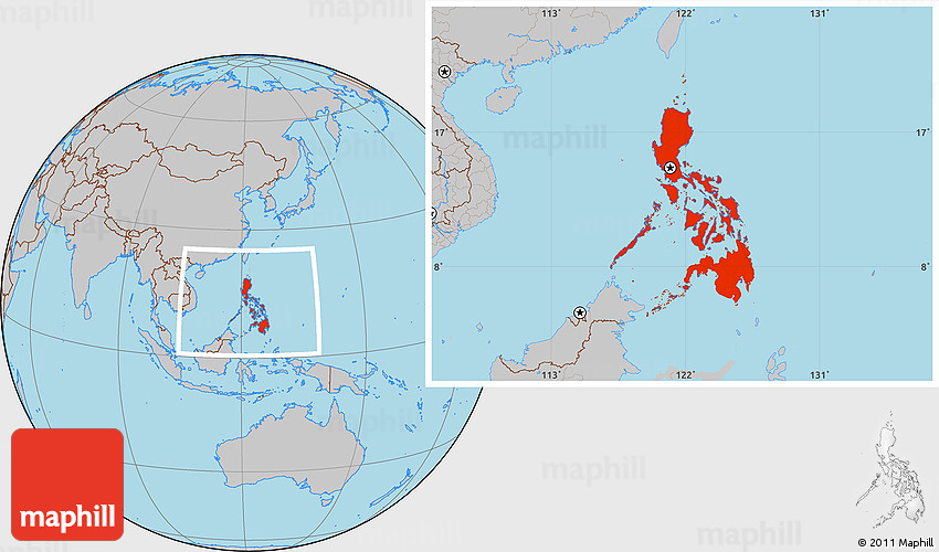 Gray Location Map of Philippines