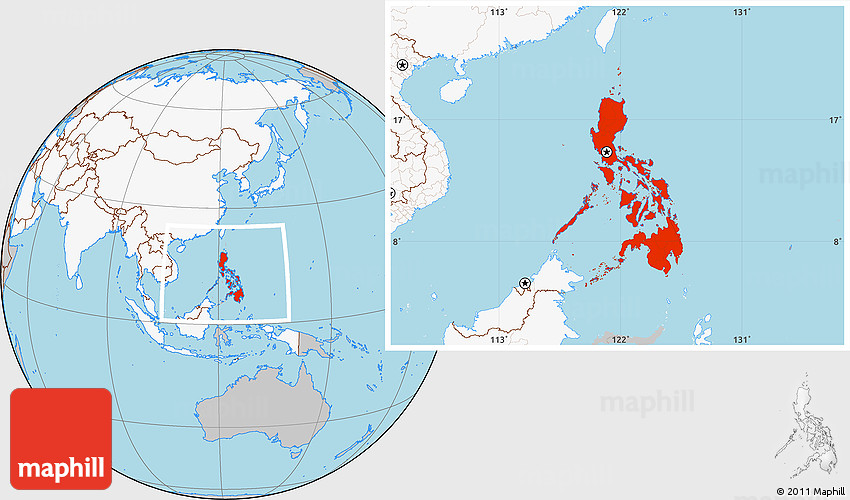 Gray Location Map Of Philippines Highlighted Continent