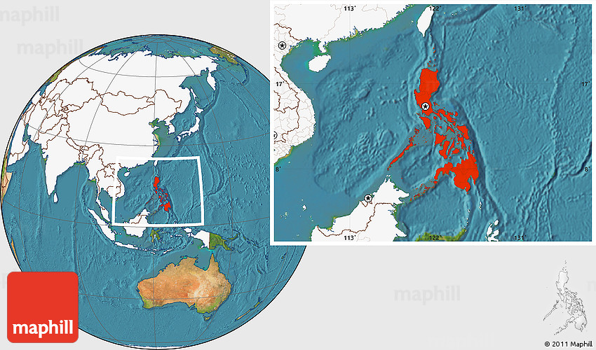 Satellite Location Map Of Philippines Highlighted Continent