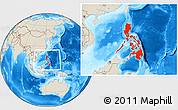 Shaded Relief Location Map of Philippines