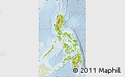 Physical Map of Philippines, lighten