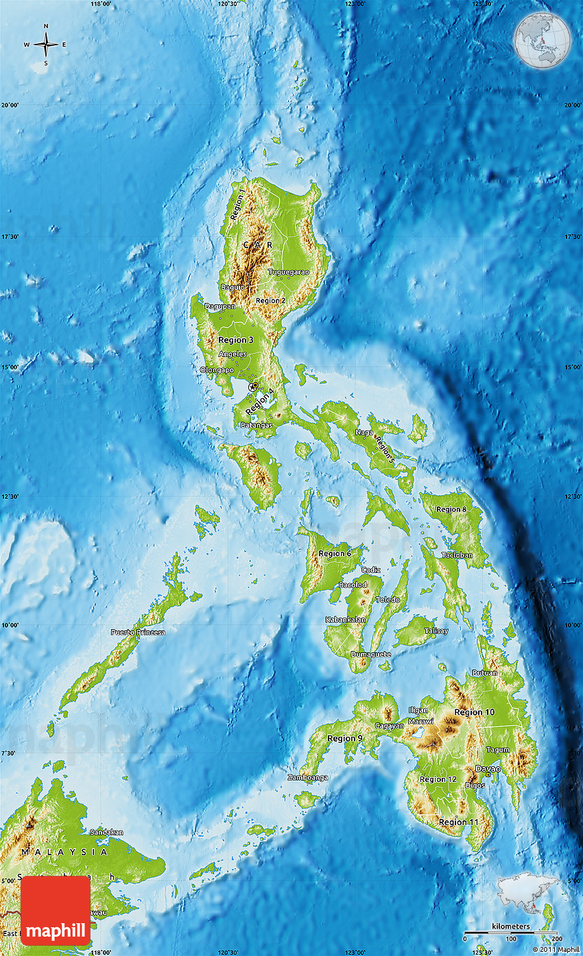 Physical Map of Philippines on