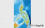 Physical Map of Philippines, political outside, shaded relief sea