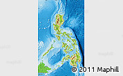 Physical Map of Philippines, political shades outside, shaded relief sea