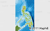 Physical Map of Philippines, satellite outside, shaded relief sea