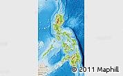 Physical Map of Philippines, shaded relief outside
