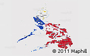 Flag Panoramic Map of Philippines, flag aligned to the middle