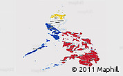 Flag Panoramic Map of Philippines, flag rotated