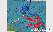 Flag Panoramic Map of Philippines, satellite outside