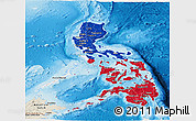 Flag Panoramic Map of Philippines, shaded relief outside