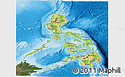 Physical Panoramic Map of Philippines, darken, land only