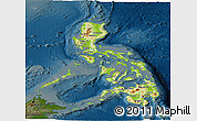 Physical Panoramic Map of Philippines, darken