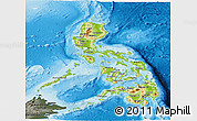 Physical Panoramic Map of Philippines, darken, semi-desaturated, land only