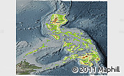 Physical Panoramic Map of Philippines, darken, semi-desaturated