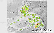 Physical Panoramic Map of Philippines, lighten, desaturated