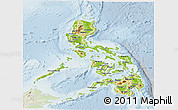 Physical Panoramic Map of Philippines, lighten