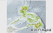 Physical Panoramic Map of Philippines, lighten, semi-desaturated