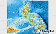 Physical Panoramic Map of Philippines, political outside, shaded relief sea
