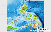 Physical Panoramic Map of Philippines, political shades outside, shaded relief sea
