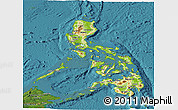 Physical Panoramic Map of Philippines, satellite outside