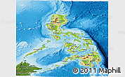 Physical Panoramic Map of Philippines, satellite outside, shaded relief sea