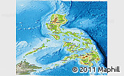 Physical Panoramic Map of Philippines, semi-desaturated, land only
