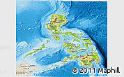 Physical Panoramic Map of Philippines, shaded relief outside