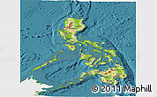 Physical Panoramic Map of Philippines, single color outside, satellite sea