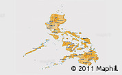 Political Shades Panoramic Map of Philippines, cropped outside