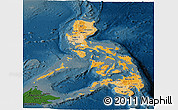 Political Shades Panoramic Map of Philippines, darken