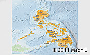 Political Shades Panoramic Map of Philippines, lighten