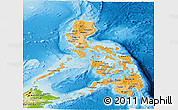 Political Shades Panoramic Map of Philippines, physical outside