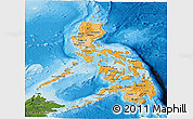 Political Shades Panoramic Map of Philippines, satellite outside, bathymetry sea