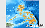 Political Shades Panoramic Map of Philippines, semi-desaturated, land only
