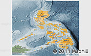 Political Shades Panoramic Map of Philippines, semi-desaturated