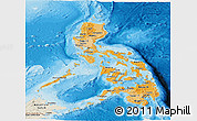 Political Shades Panoramic Map of Philippines, shaded relief outside, bathymetry sea