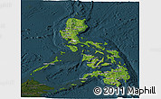 Satellite Panoramic Map of Philippines, darken