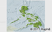 Satellite Panoramic Map of Philippines, lighten