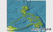 Satellite Panoramic Map of Philippines, physical outside, satellite sea