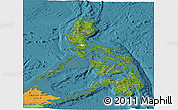 Satellite Panoramic Map of Philippines, political outside, satellite sea