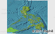 Satellite Panoramic Map of Philippines, political shades outside, satellite sea