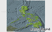 Satellite Panoramic Map of Philippines, semi-desaturated