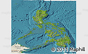 Satellite Panoramic Map of Philippines, shaded relief outside, satellite sea