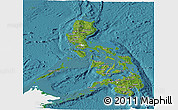 Satellite Panoramic Map of Philippines, single color outside