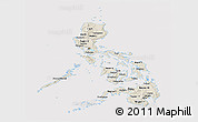 Shaded Relief Panoramic Map of Philippines, cropped outside