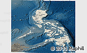 Shaded Relief Panoramic Map of Philippines, darken