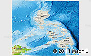 Shaded Relief Panoramic Map of Philippines, physical outside