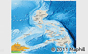 Shaded Relief Panoramic Map of Philippines, political outside, shaded relief sea